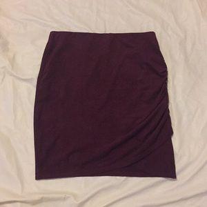Maroon suede bodycon skirt